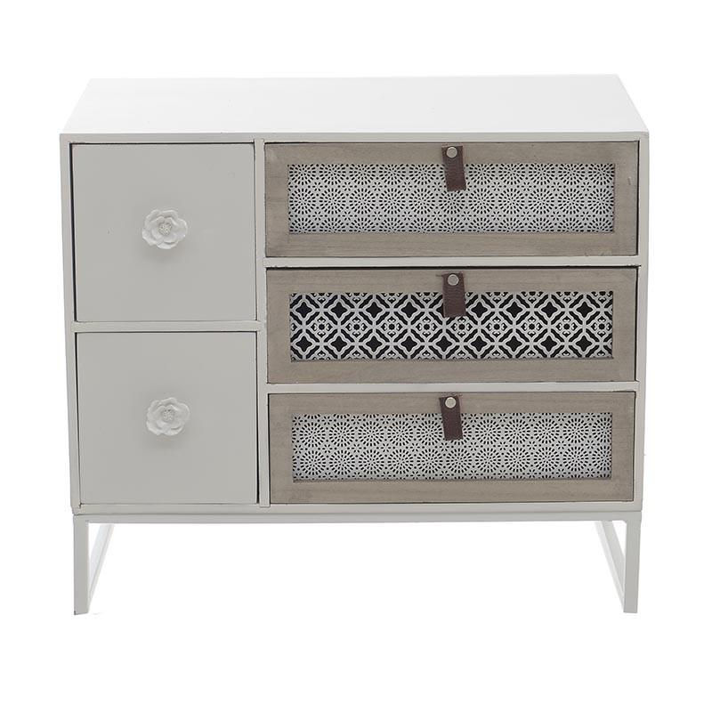 Нисък бял шкаф с 5 чекмеджета - отпред