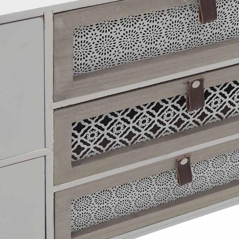 Нисък бял шкаф с 5 чекмеджета-снимка отблизо