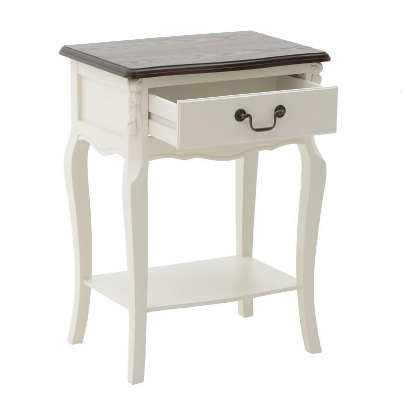 Нощно шкафче с чекмедже и рафт - отворено