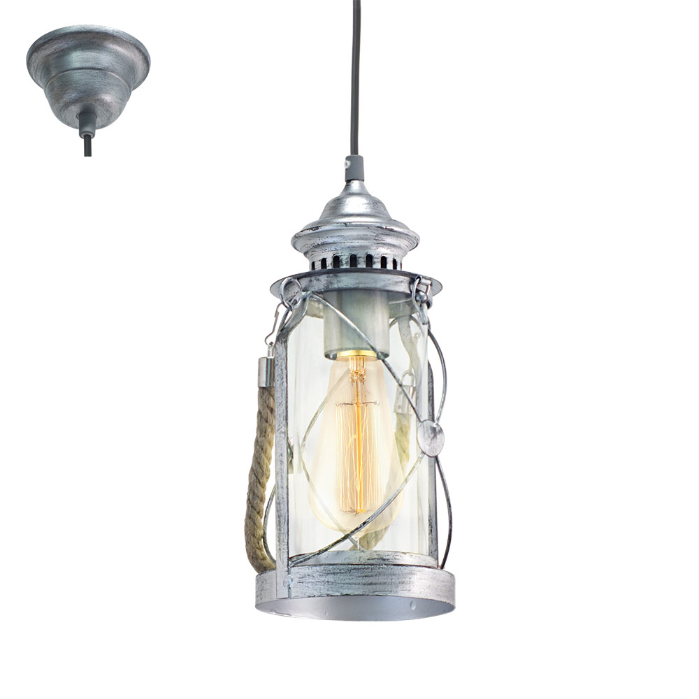 Пендел с дизайн като фенер в цвят антично сребро серия BRADFORD
