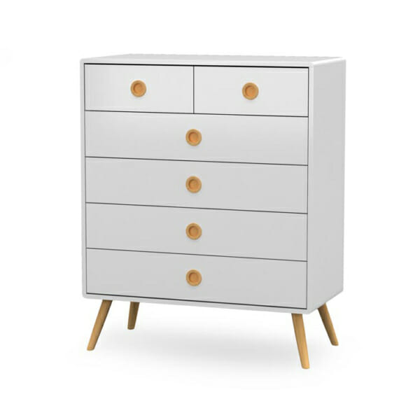 Скрин в бяло с 6 чекмеджета серия Момо