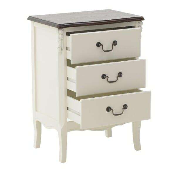 Стилен дървен шкаф с 3 чекмеджета - отворен