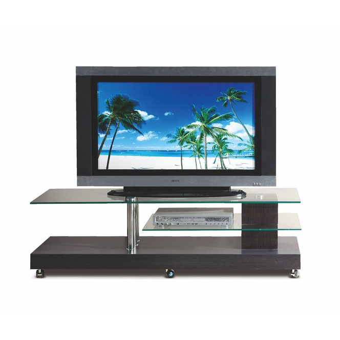 ТВ поставка венге и стъкло на колелца