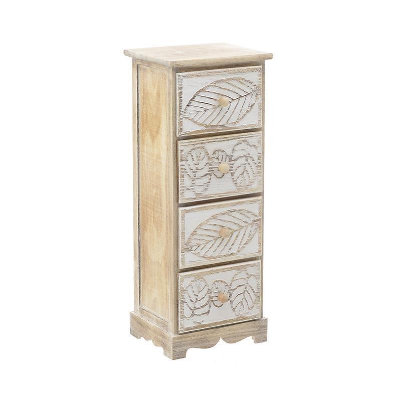Тесен дървен шкаф с 4 чекмеджета