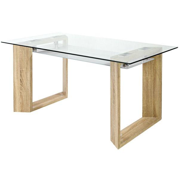 Трапезна маса от стъкло и МДФ