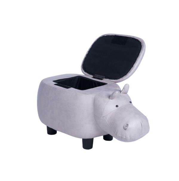 Детска табуретка във формата на хипопотам - сив - капак