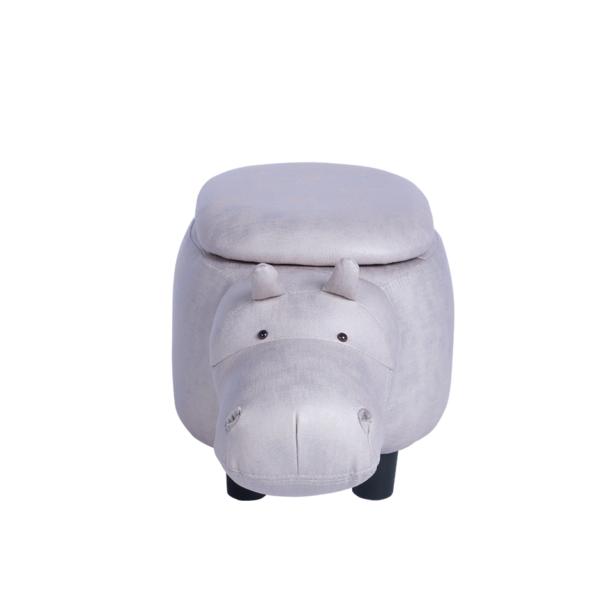 Детска табуретка във формата на хипопотам - сив - отпред