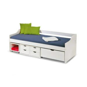 Бяло тийнейджърско легло с пет чекмеджета и подвижно шкафче