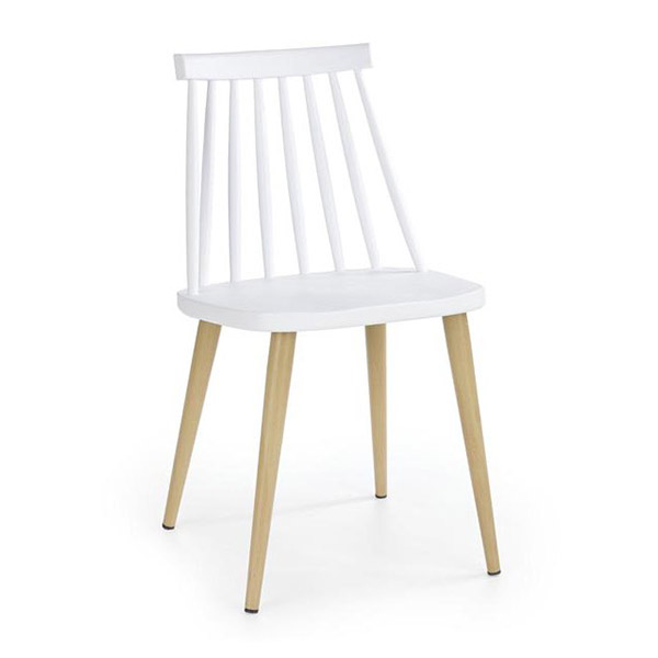 Бял трапезен стол с кафеви метални крака