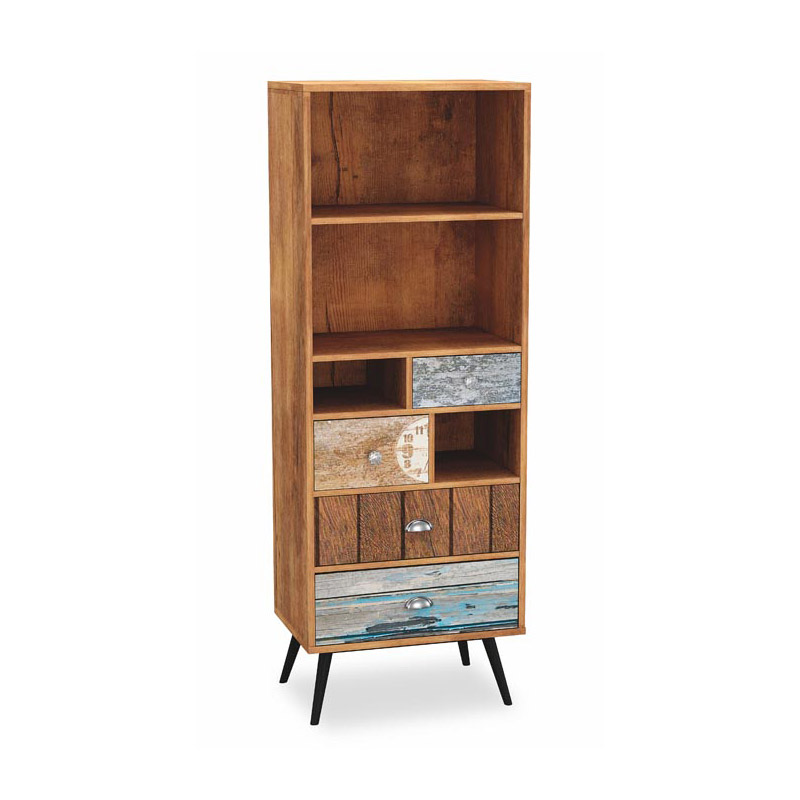 Висок дървен шкаф с чекмеджета и рафтове серия Max