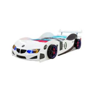 Детско легло във формата на състезателна кола - бяла, с екстри