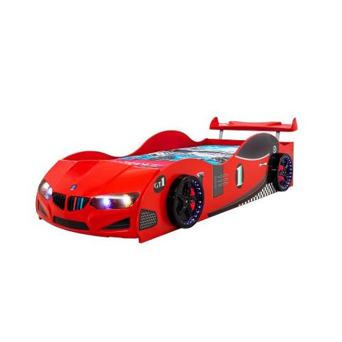 Детско легло във формата на състезателна кола - червена, с екстри