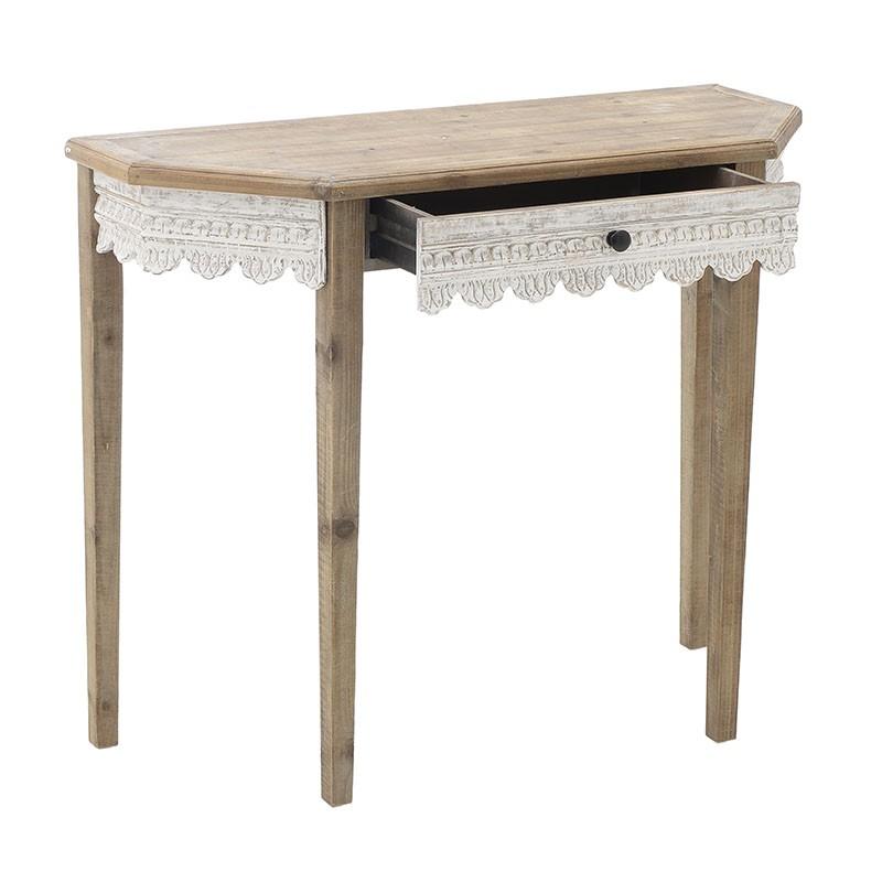 Дървена конзола за антре във винтидж стил - чекмедже