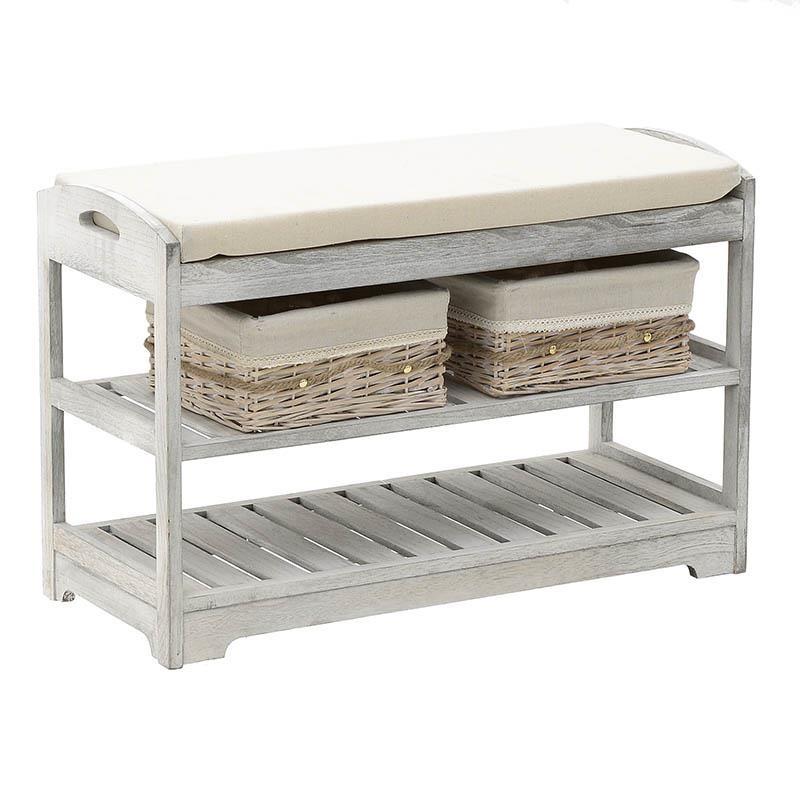 Дървена пейка с рафт за обувки и два коша