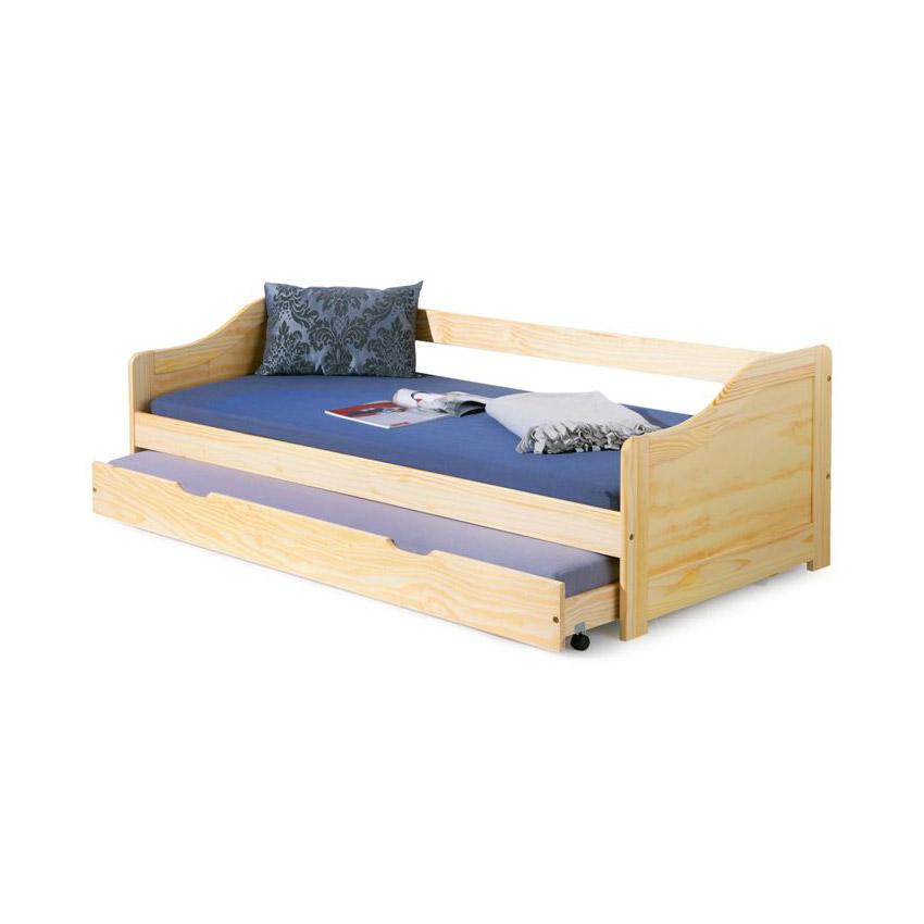 Дървено детско легло с второ издърпващо се ниво на колела