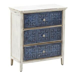 Дървен шкаф в бяло и синьо със състарена визия