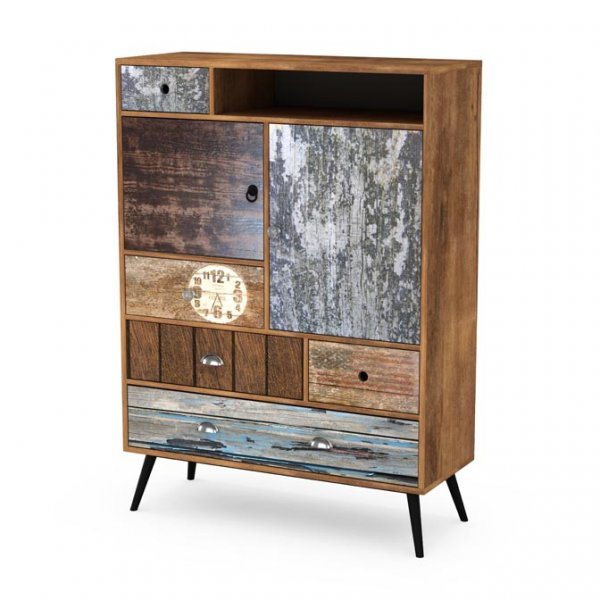 Дървен шкаф с чекмеджета, вратички и рафтове серия Max