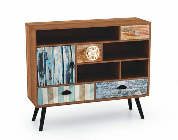 Дървен шкаф с чекмеджета рафтове и шкафче серия Max