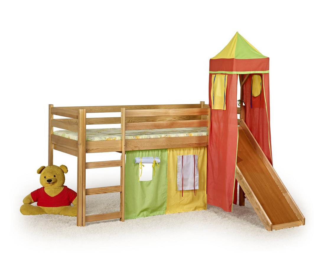 Замък за детска стая с кула, пързалка и легло