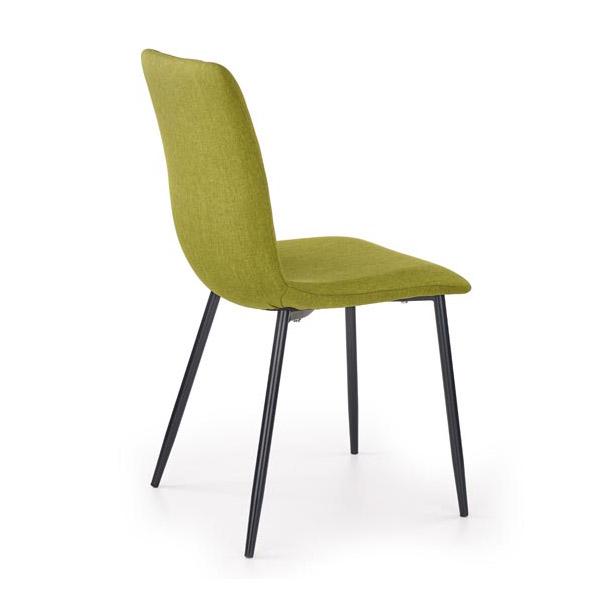 Зелен трапезен стол с дамаска и черни метални крака-снимка отзад