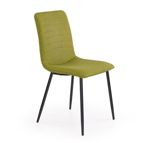 Зелен трапезен стол с дамаска и черни метални крака