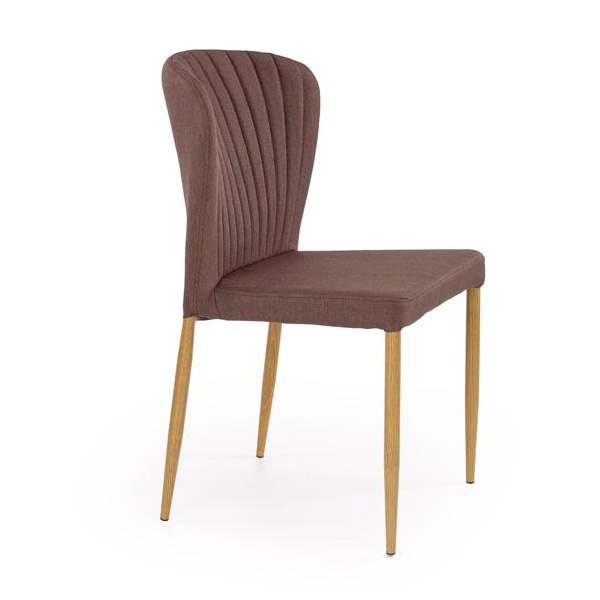 Кафяв трапезен стол с метални крака имитиращи дърво и дамаска