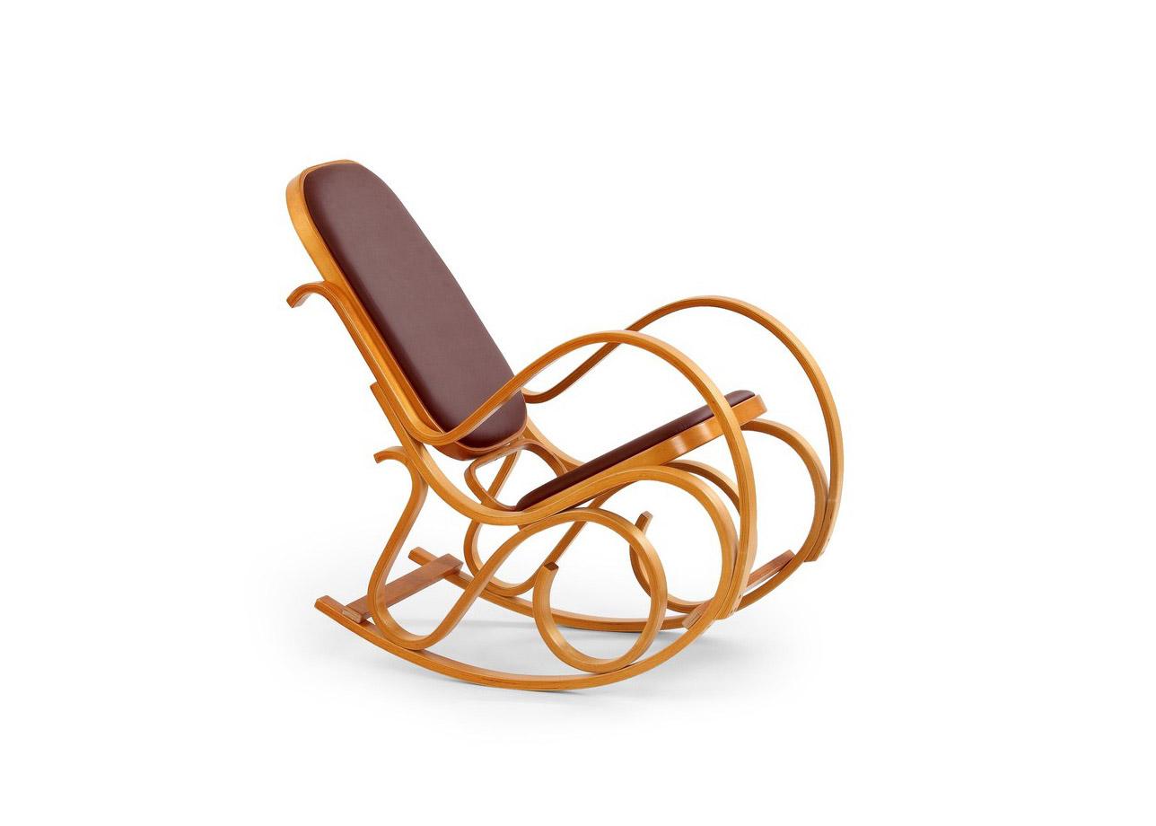 Класически люлеещ се стол - цвят елша и еко кожа