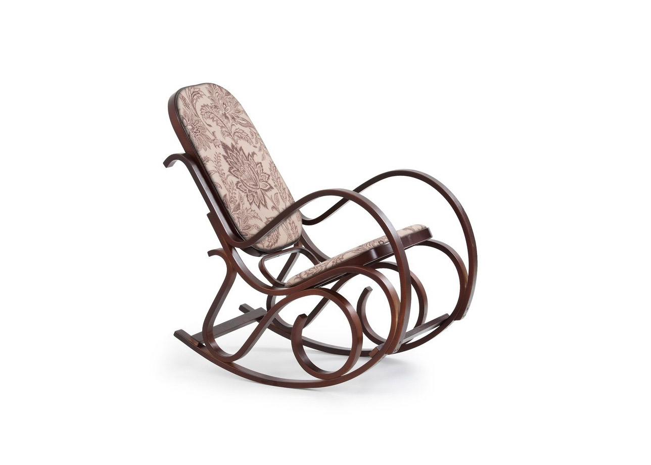 Класически люлеещ се стол - цвят орех и дамаска с флорален мотив