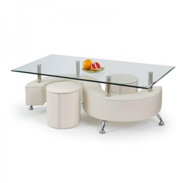 Комплект холна маса със стъклен плот и две табуретки - бял цвят