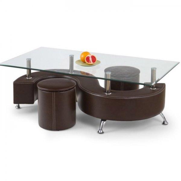 Комплект холна маса със стъклен плот и две табуретки - тъмнокафяв цвят
