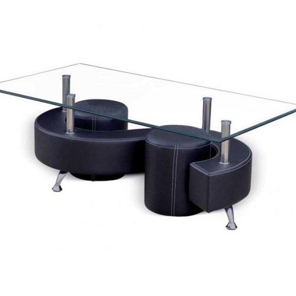 Комплект холна маса със стъклен плот и две табуретки - черен цвят