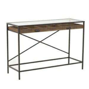 Конзолна маса от дърво, стъкло и метал