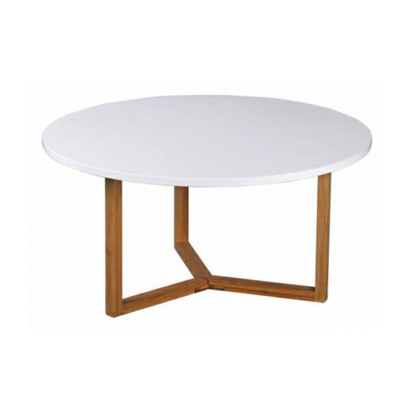 Кръгла холна маса с бял плот и дървени крака