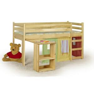 Къщичка за детска стая, легло и изтеглящо се бюро за игра в едно-извадено бюро