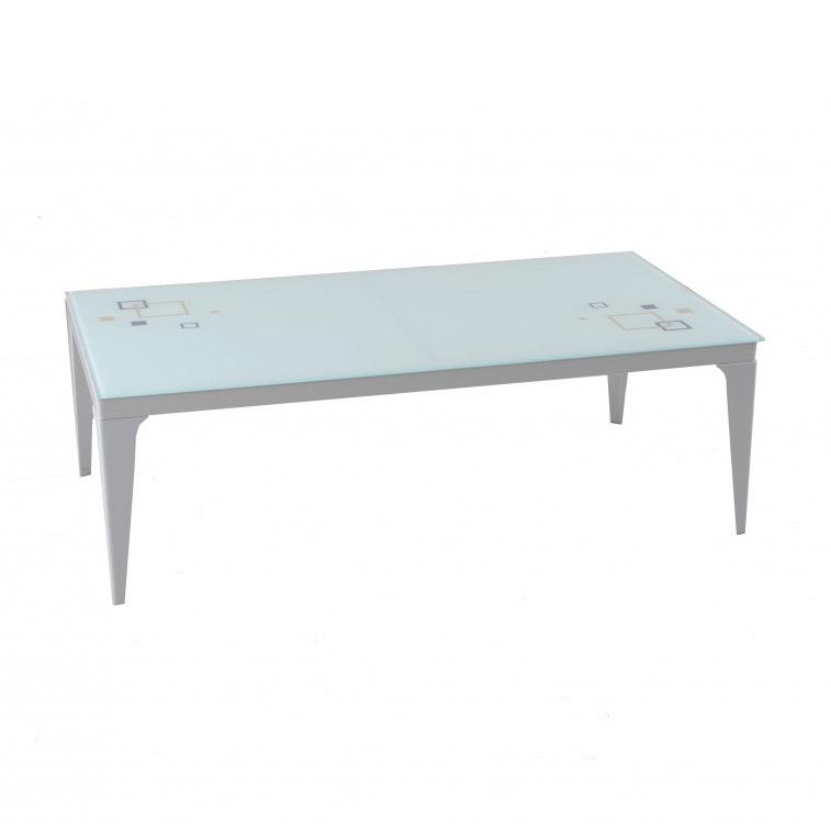 Метална бяла холна маса със стъклен плот