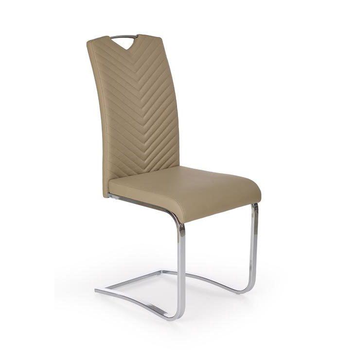 Модерен трапезен стол от еко кожа - цвят капучино