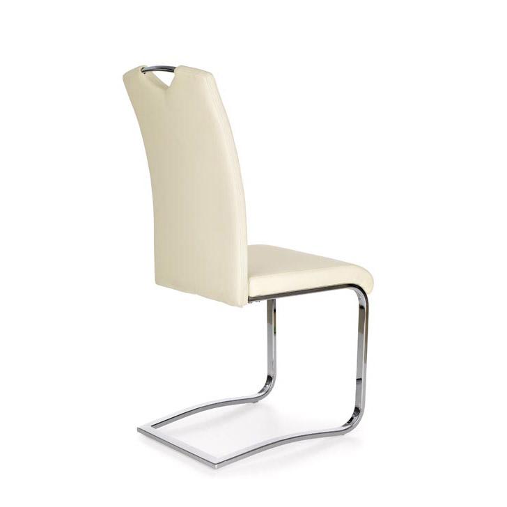 Модерен трапезен стол от еко кожа - цвят крем-снимка отзад