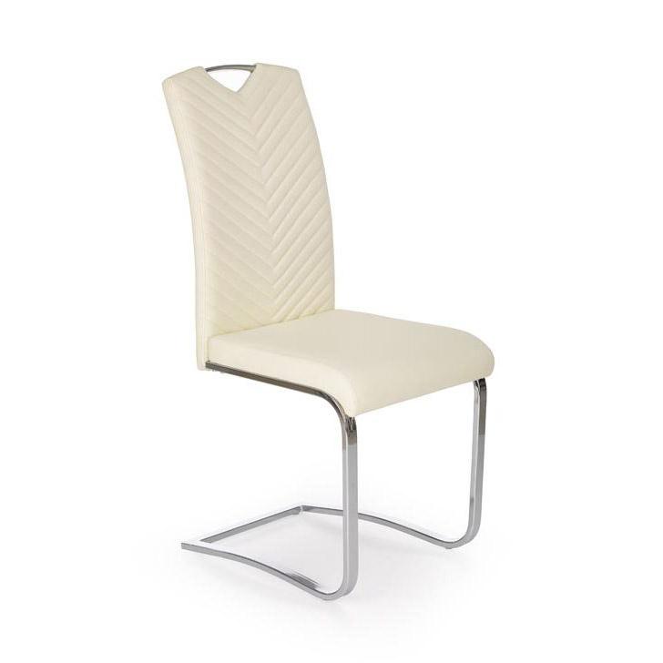 Модерен трапезен стол от еко кожа - цвят крем