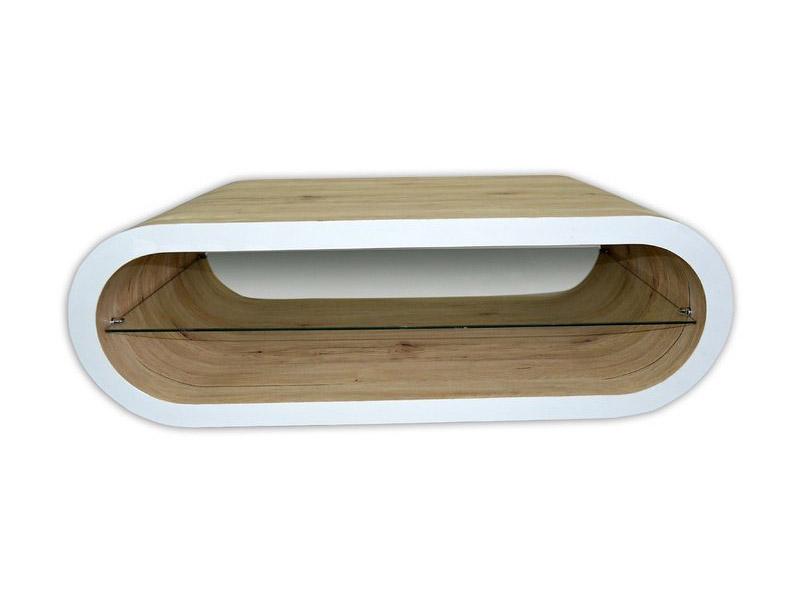 Модерна холна маса без крака в цвят дъб и бяло-снимка отпред