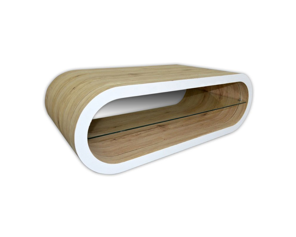 Модерна холна маса без крака в цвят дъб и бяло