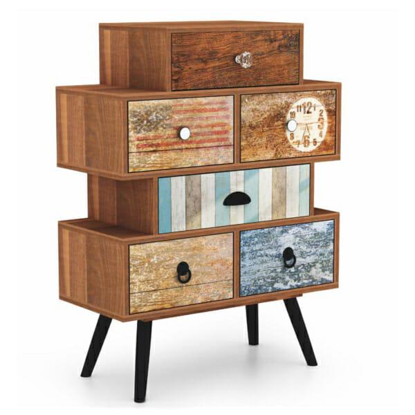 Нестандартен дървен шкаф с 6 чекмеджета серия Max