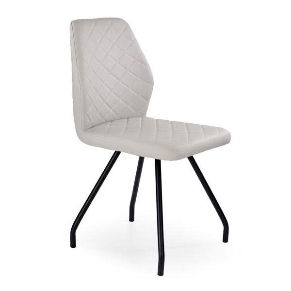 Сив стол от еко кожа на ромбове