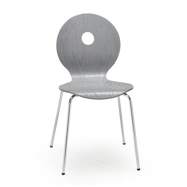 Сив стол с кръгла облегалка с дупка в средата