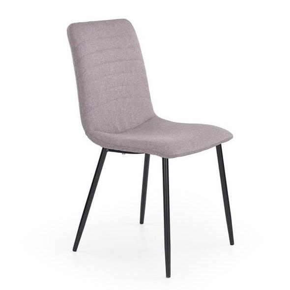 Сив трапезен стол с черни метални крака