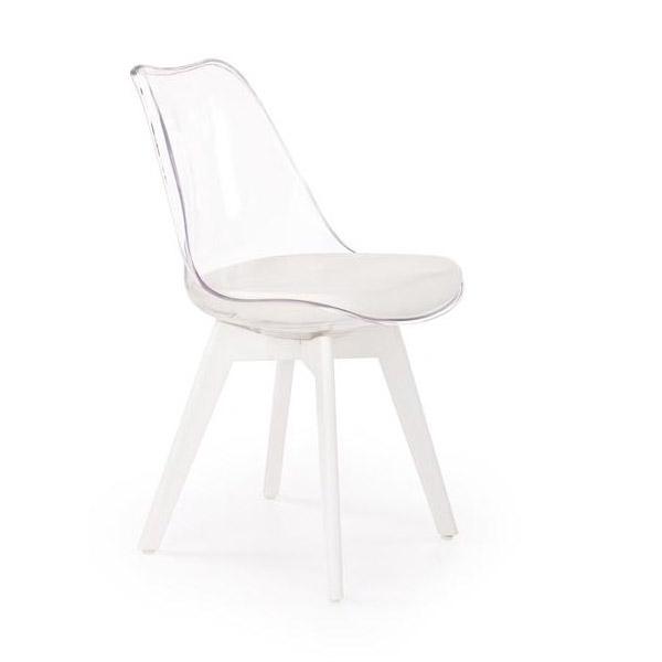 Стол с прозрачна облегалка и бели крака