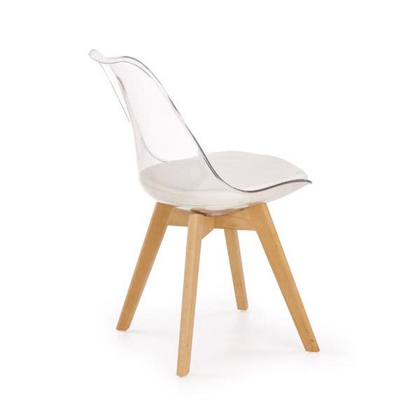 Стол с прозрачна облегалка и крака от дърво-снимка отзад