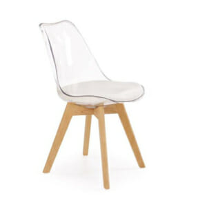 Стол с прозрачна облегалка и крака от дърво