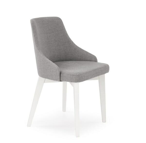 Трапезен стол бели крака и сива дамаска