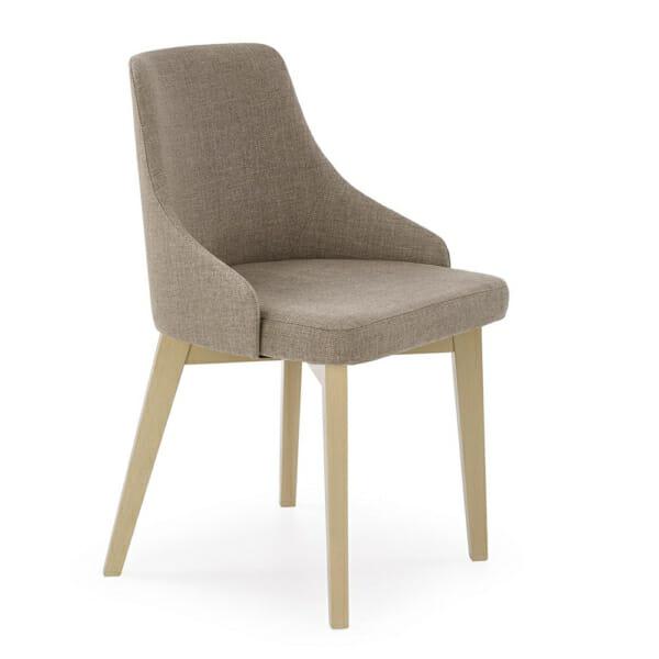 Трапезен стол крака дъб сонома и бежова дамаска