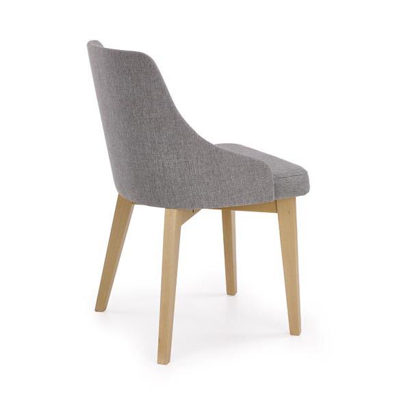 Трапезен стол с крака в цвят дъб сонома и сива дамаска-снимка отзад